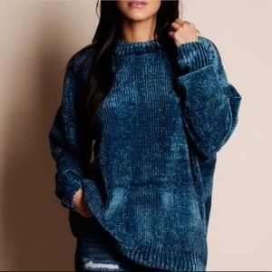 RYLEE Softest Chenille Sweater - teal